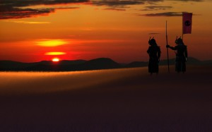 3d-abstract_widewallpaper_samurai-sunset_59537
